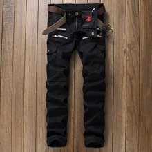 Tide brand young men Multi-pocket feet quality cotton trousers Korean style slim straight fashion casual jeans men Black 29-38
