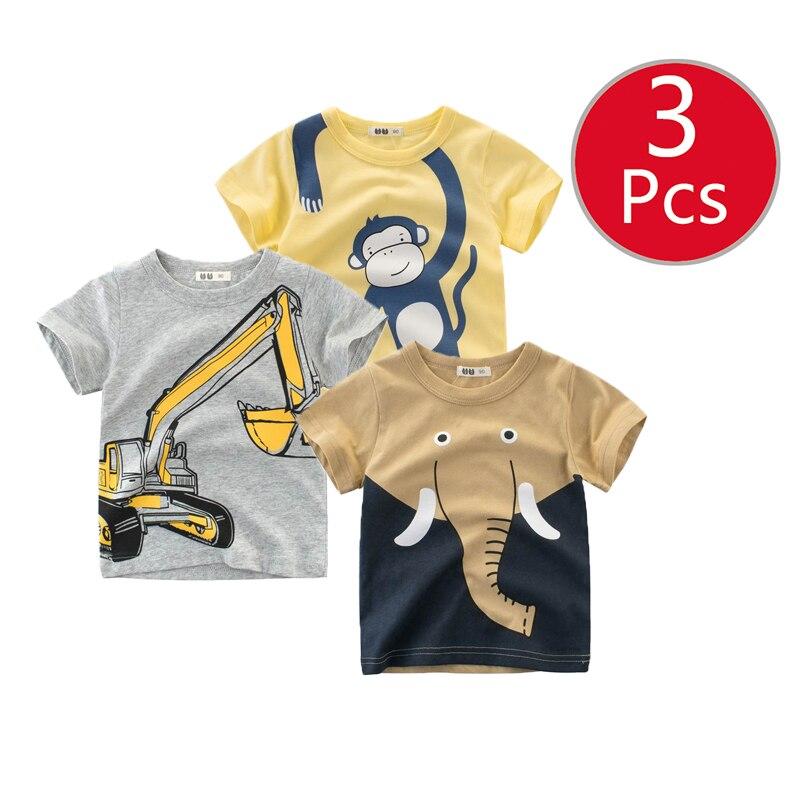 27kids 3pcs/lots 27kids 3pc Dinosaur Pattern Boys T Shirt for Kids Baby's Tops t-shirt Cotton Children Short Sleeve Clothes 1