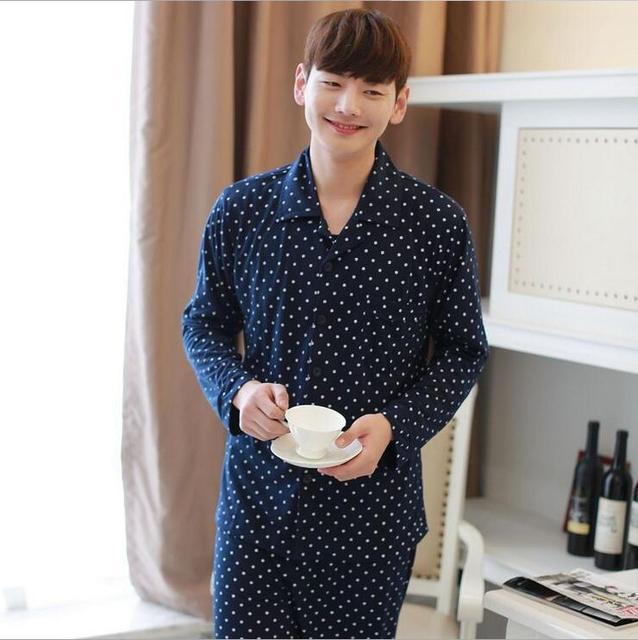96365cd948 Otoño y ropa de invierno de algodón de manga larga pijama de algodón de los  hombres