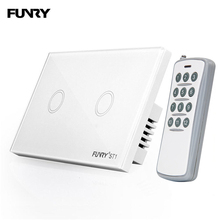 цена на FUNRY 2 Gang 1 Way US Capacitive Glass Touch Switch Smart Remote Control Wall Switch Smart Light Switch 110-240V 433mhz
