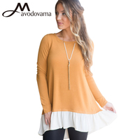 Avodovama M Women New Fashion Blouse Long Sleeve Patchwork Ruffles O Neck Tops