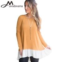 Avodovama M Women New Fashion Blouse Long Sleeve Patchwork Ruffles O Neck Tops