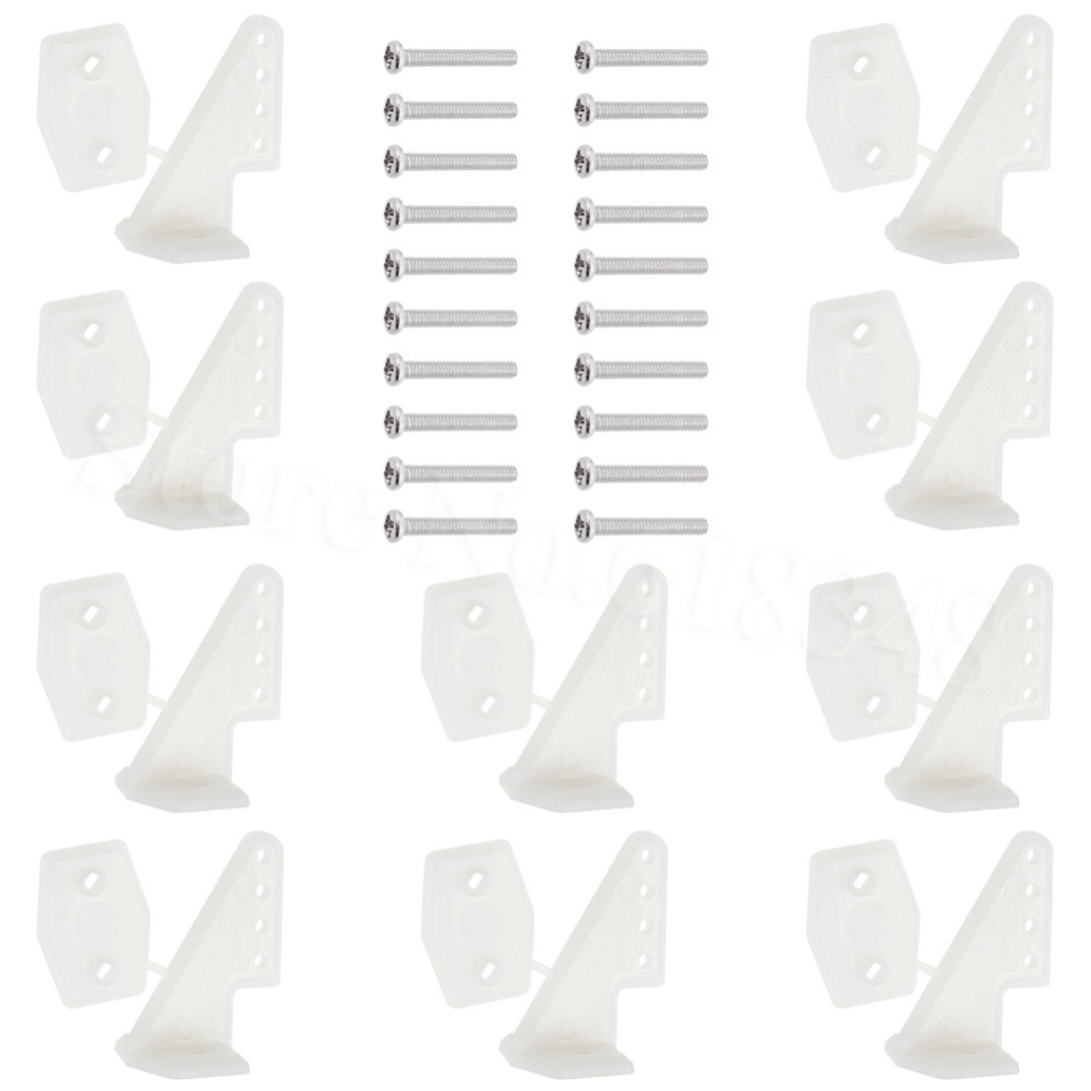 10Sets Plastic Pin Control Horns 4 Hole With Screws W13xL18xH25mm RC Airplane Parts Electric Foam Aeromodelling Replacement