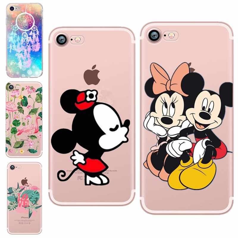 Moda Amantes Dos Desenhos Animados de Mickey Mouse Minnie capa mole TPU silicon case Para iPhone 5 SI/5S 6 6 s 7 8 mais funda Do Telefone casos de Coque