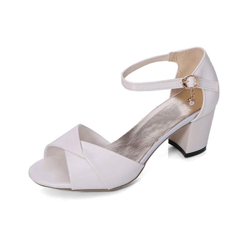 Peep Mujeres Yx578 Mujer Cuadrado De 2019 Verano blanco Las Sandalias Señoras Sandalie Toe Zapatos rosado Cielo Azul Alto Tacón wqE10