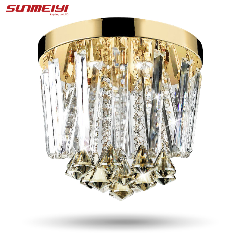 2017 Modern Round LED Crystal Ceiling Lights aisle entrance Lights For Home Living Room Bedroom Light Fixtures modern multicolour crystal ceiling lights for living room luminarias led crystal ceiling lamp fixtures for bedroom e14 lighting