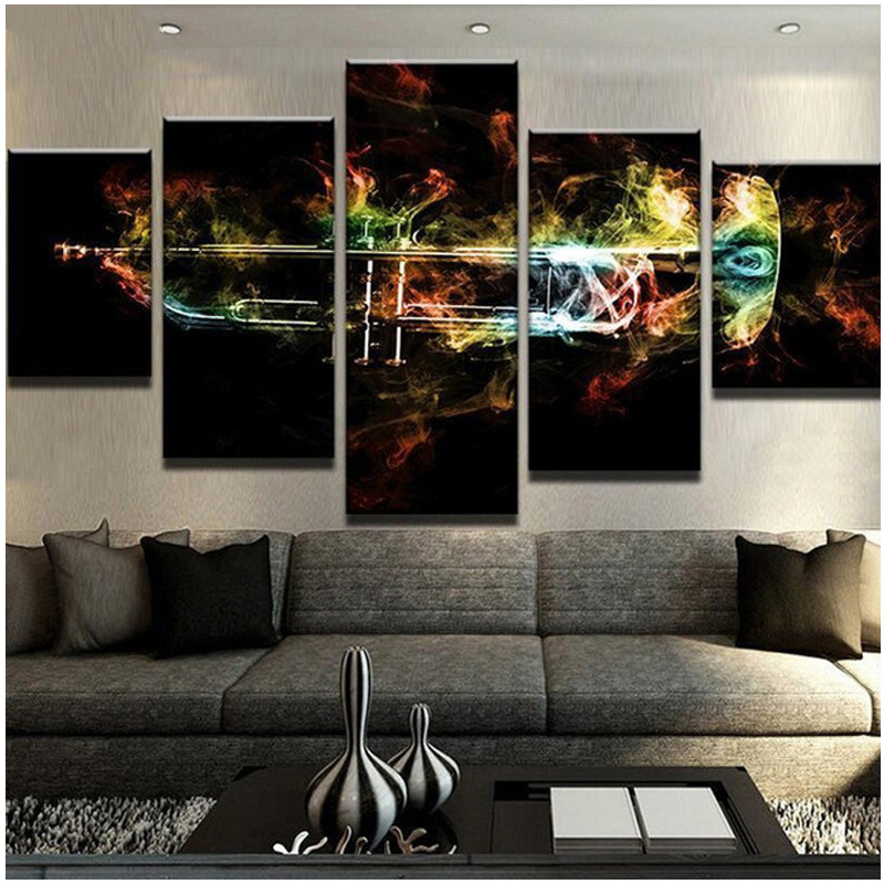 Diy Diamond Painting Abstract Color Musical Instruments Flames Trumpet 5D Diamond Embroidery Cross Stitch Mozaik puzzleZP-2472