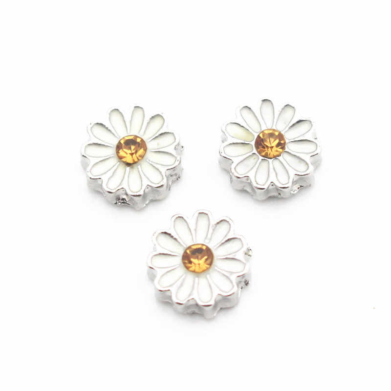 10pcs/lot Metal Enamel Chrysanthemum Crystal Floating Charms For Living Glass Floating Lockets Necklace & Bracelet DIY Jewelry