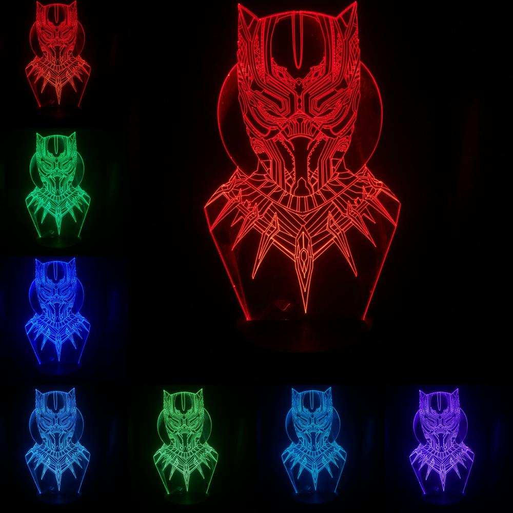 Black Panther Head Mask Figure 3D Lamp Illusion Night Light LED Bulb Multicolor Props Christmas Gift For Children Home Deocr