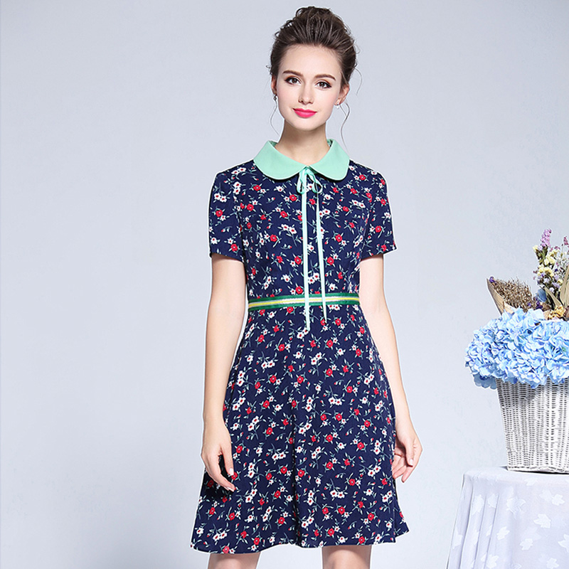 AOFULI L 3XL 4XL 5XL Bow Tie Floral Pattern Dress 2019 Summer Short Dress Plus Size