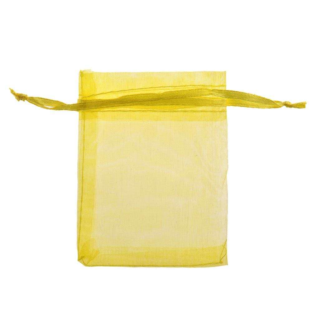 1 Pcs Gift Bag Small Yellow Color Organza Candy Jewelry Packaging Bags Wedding &Jewelry Pouches