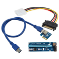 USB 3.0 PCI-E PCI Express 1x To 16x Extender Riser Card Power Cable 60cm PCIE Mining Card Adapter for BitCoin left interface
