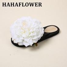 HAHAFLOWER Summer Women's Beach Blue Flower Slippers Fashion Flat Sandals Flip Flops Women Shoes A47 free delivery