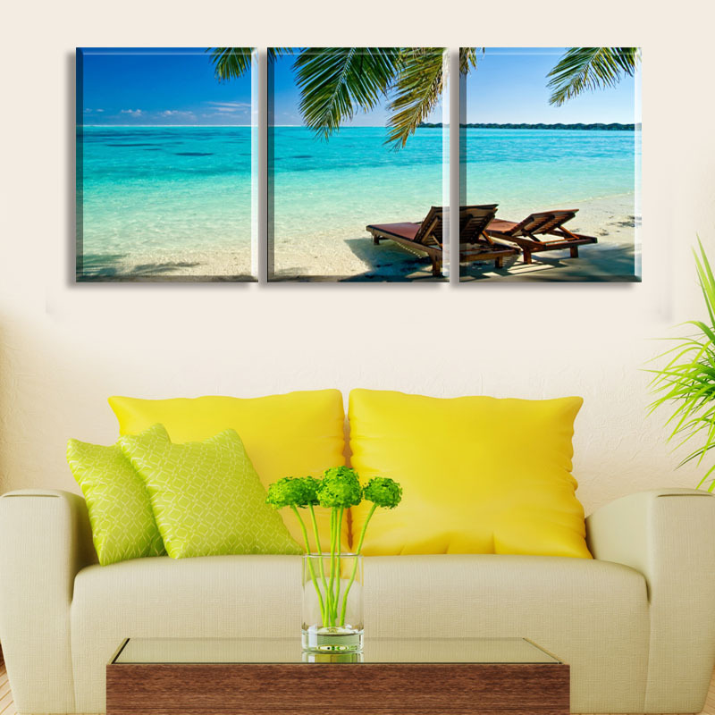 Free Shipping 3 Panels Hot Modern Blue Sea Picture Decorative Canvas ...