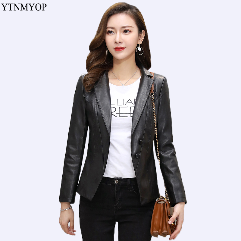 YTNMYOP Brands Office Lady   Leather   Blazer Slim Fashion Women   Leather   Jacket Plus Size 5XL Jaqueta Feminina Long Sleeve Clothing