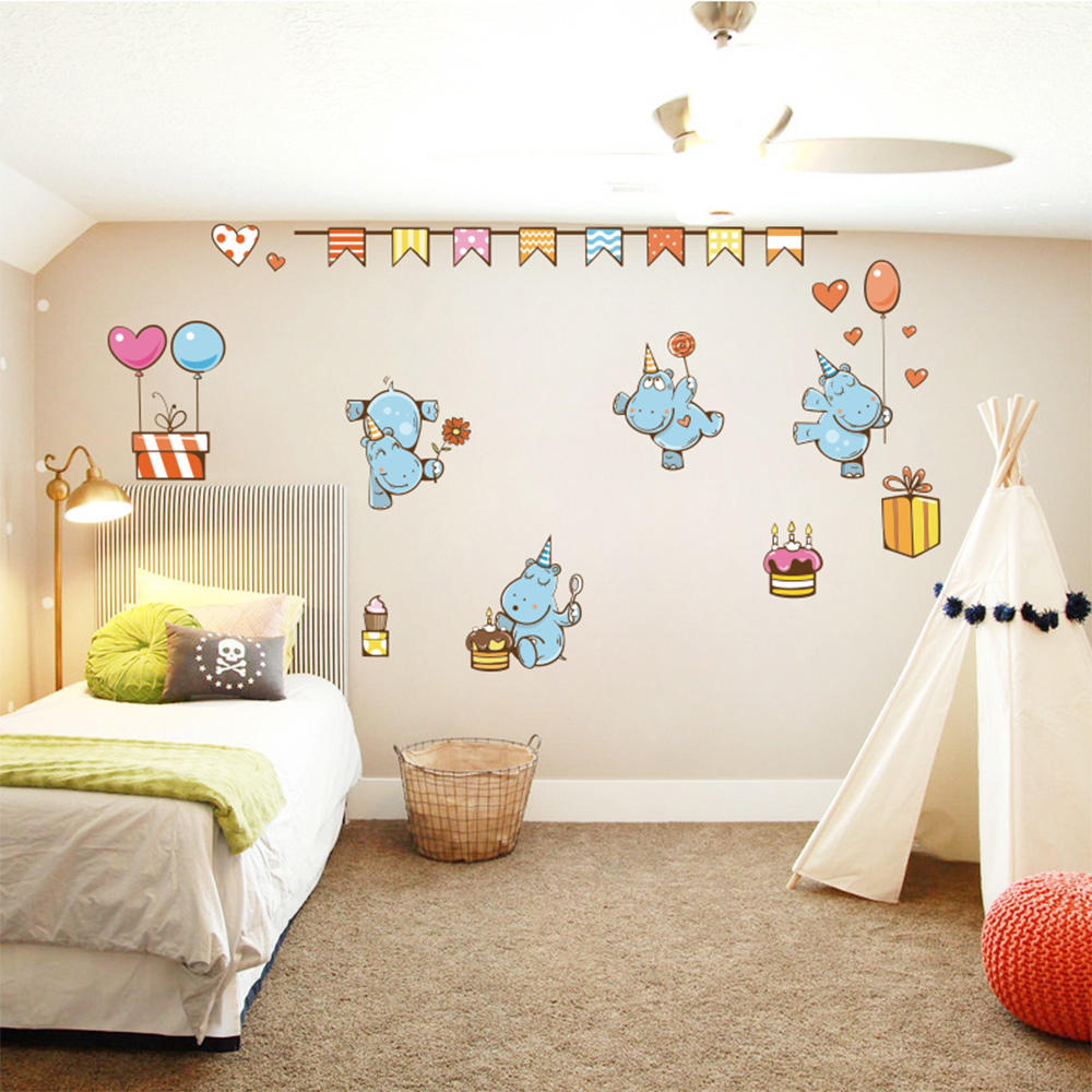 Adorable hippo wall stickers for kids room home decor diy - Childrens bedroom wall stickers removable ...