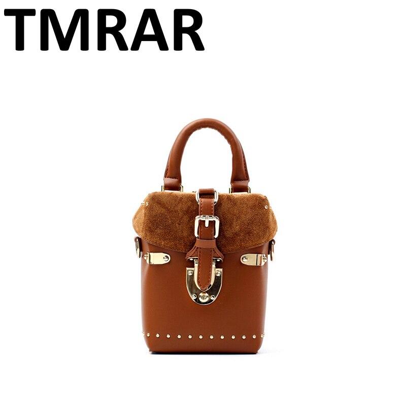 2018 New patchwork scrub mini messenger bags split leather handbags women brand design lady chic crossbody bags bolsas qn052