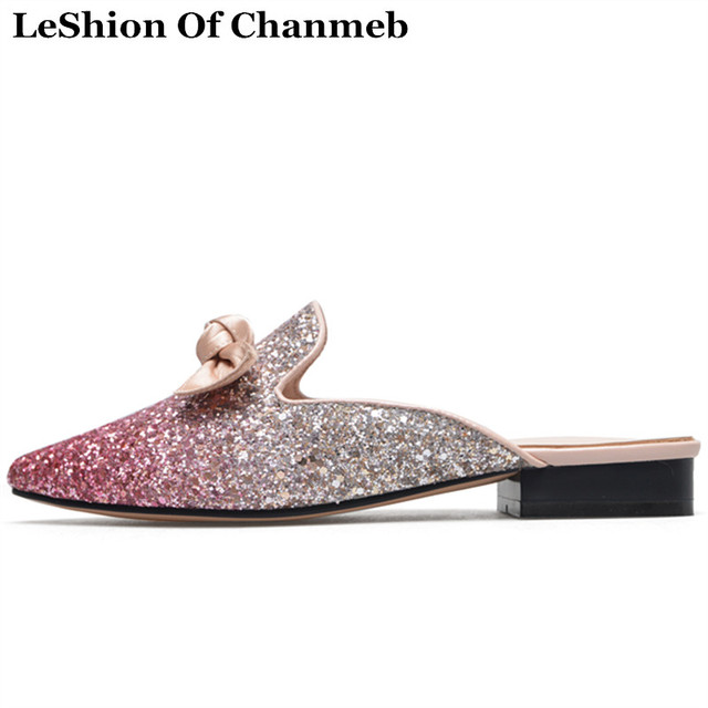 8d3dfdd177c8 2018 Bling Bling Bowknot Women s Glitter Mules Pink Flats Evening Party Shoes  Female Butterfly Knot Bling Loafers Mules Sweet