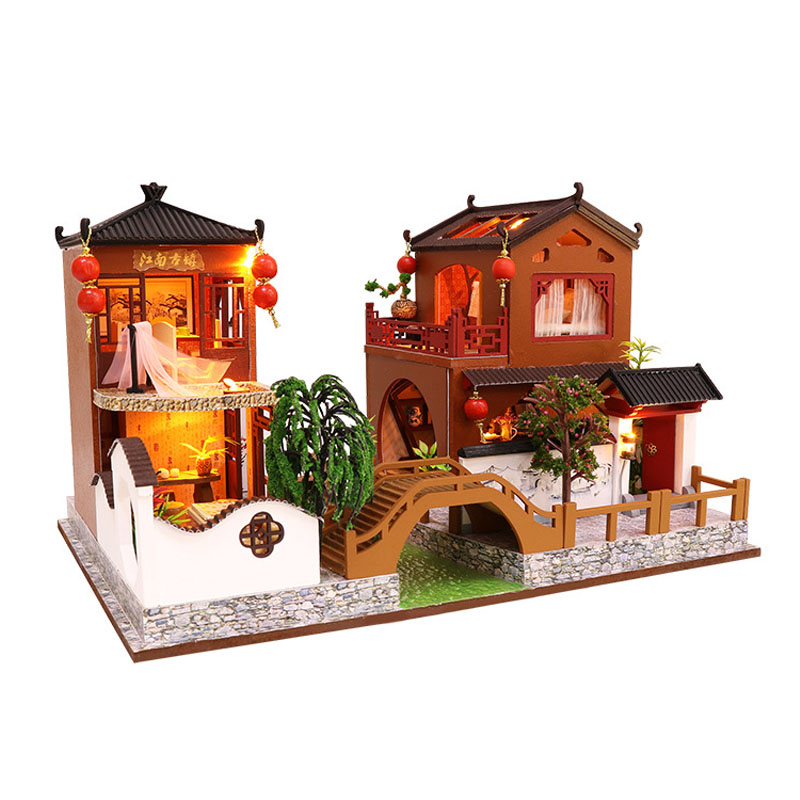 Miniature Chinese Ancient Town Model Dollhouse Furniture LED Lights Kit Wooden Puzzle Doll House Toy Kids Birthday Xmas Gift