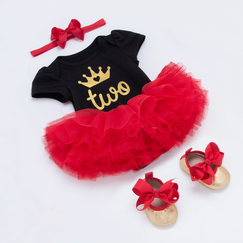 Red tutu skirts Crown Short Sleeve Rompers Baby Clothing Set Infant Girl Clothes Cotton Shoes Headband 4pcs