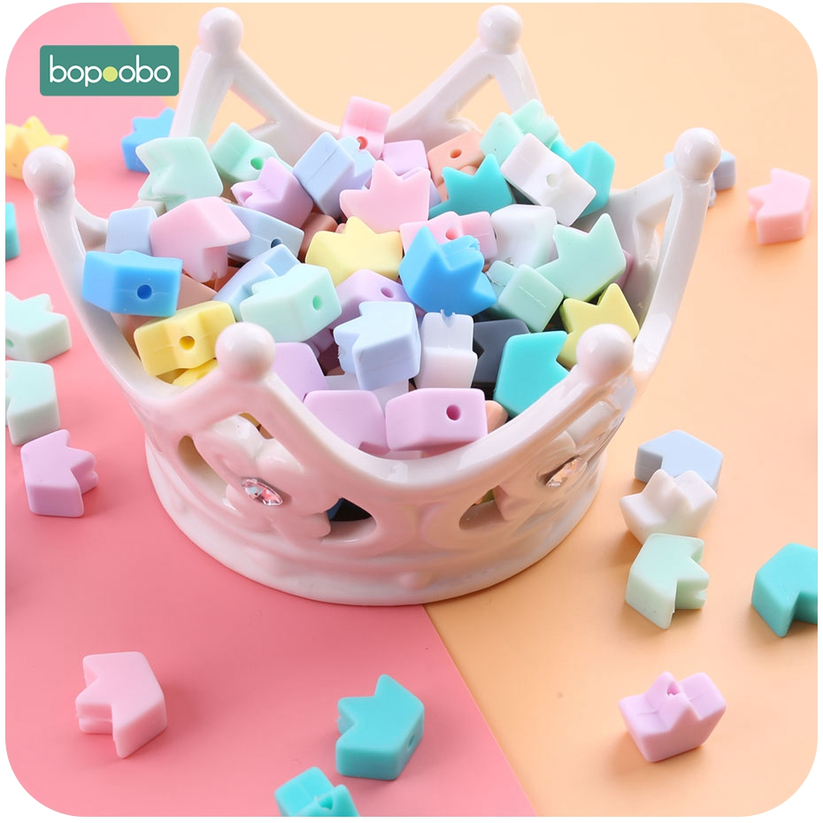 Bopoobo 30pc Silicone Grass Beads Baby Teething Beads Pearls Food Grade Silicone Mini Crown Rodents Baby Teether