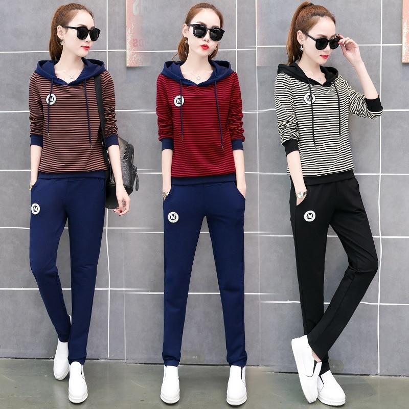 Spring Women Sportswear Tracksuit Stripe Printed Hoodies Sweatshirt+pant Running Jogger Casual Fitness Exercise Set Sport suit 49