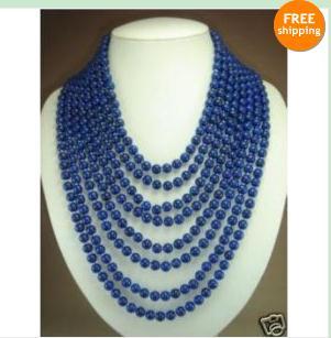 Classique! 8 rangées charmant 6mm bleu lapis lazuli perles collier boucle d'oreille mode femme bijoux livraison gratuite
