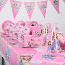 115pcs/lot Sophia Party Decoration baby shower Kids Birthday Set Supplies friends party Decorations