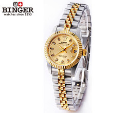 Hot Selling New Style Women Dress Watches shining rhinestone watch elegant silver gold wristwatch black Table Brand Logo Binger