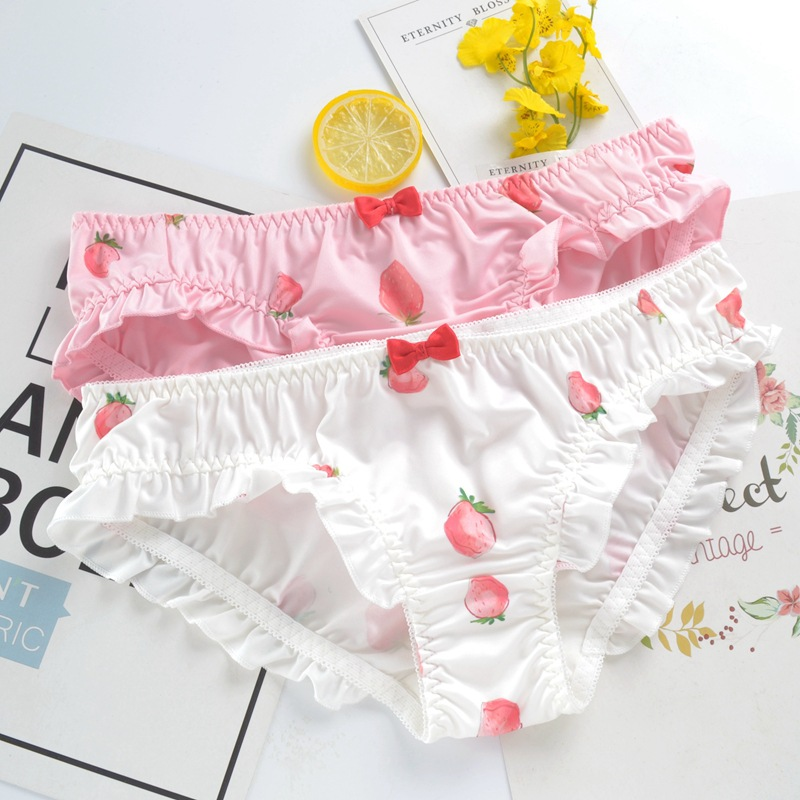 SP&CITY Cartoon Strawberry Patterned   Panties   Sweet Girl Bow Seamless Underwear Women Menstrual Lingerie Soft Breathable Briefs