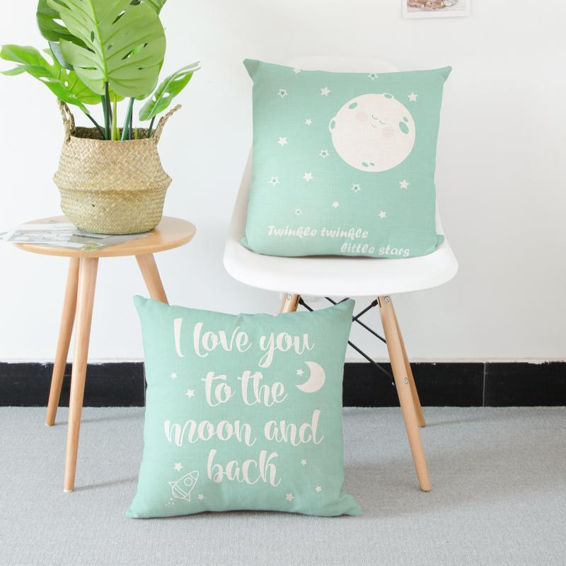 Nordic Style Decoration Green Cushion Cover Simple Text Happy Popsicle Little Star Cactus Big Fish Cartoon Pillow Case For Home image