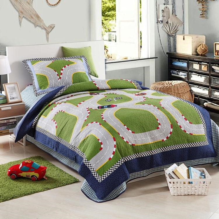 Free Shipping MV Race Track For Boys Kids Bedding Set Racing Car Handmade Embroidery Applique