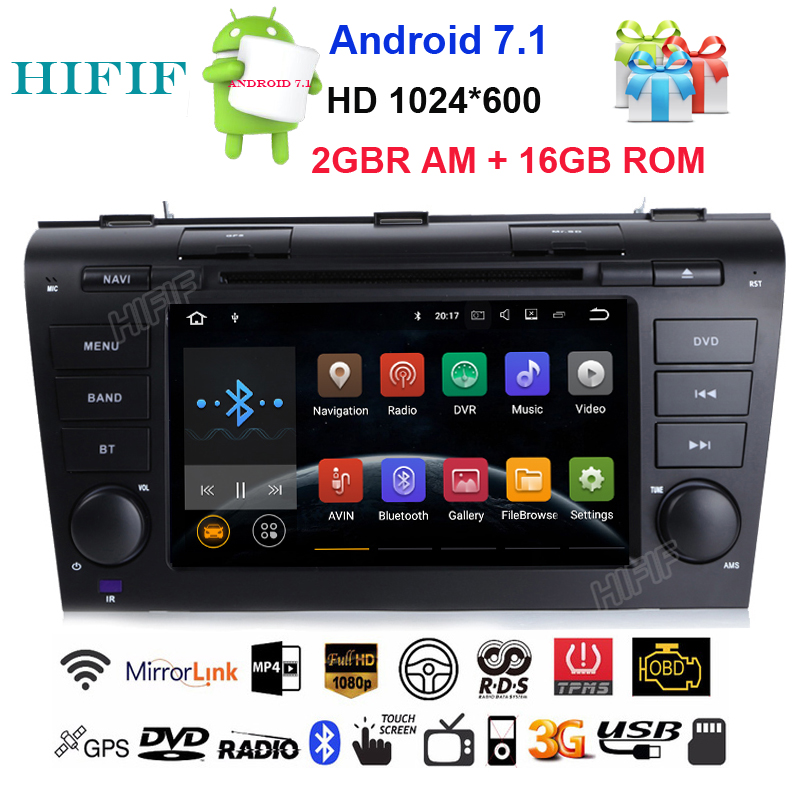HIFIF Android 7.1.2 Quad Core Car DVD Player For <font><b>Mazda</b></font> <font><b>3</b></font> Mazda3 2004 2005 2006 <font><b>2007</b></font> 2008 2009 GPS Navigation <font><b>Radio</b></font> BT Stereo image