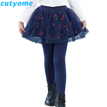Cutyome Teenage Girls Leggings with Skirt Children Autumn Skinny Pants Solid Cotton Skirt-Pants Toddler Kids  Leggins 8 10 12 14