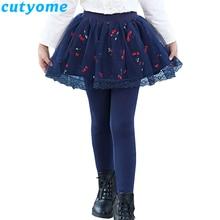 Cutyome Teenage Girls Leggings with Skirt Children Autumn Skinny Pants Solid Cotton Skirt-Pants Toddler Kids  Leggins 8 10 12 14 girls geometric print top with solid skirt