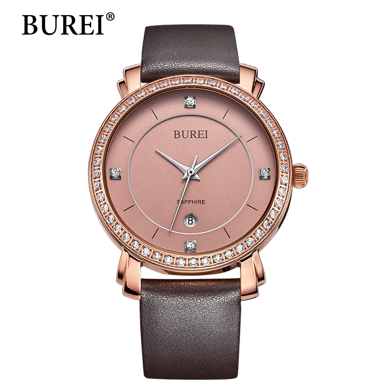 BUREI Women Watches Top Fashion Brand Diamond Sapphire Lens Female Clock Pu Leather Band Waterproof Gold Steel Watch New Arrival burei woman watch top fashion brand female clock diamond sapphire mechanical wristwatches gold steel band waterproof watches hot