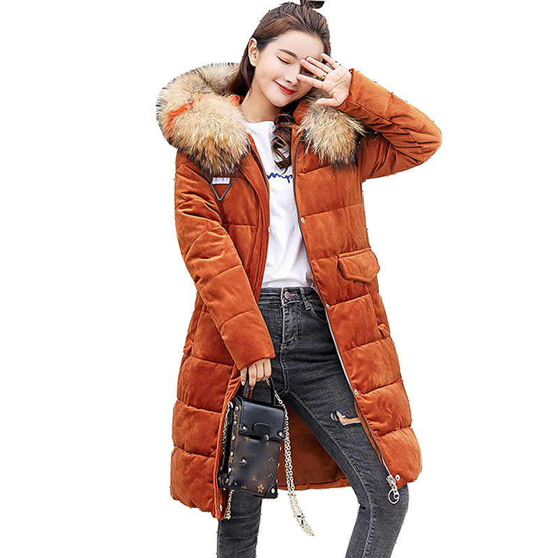 2018 winter jacket women coat fur collar thicken warm long jacket female plus size 3XL outerwear   parka   ladies outerwear feminino