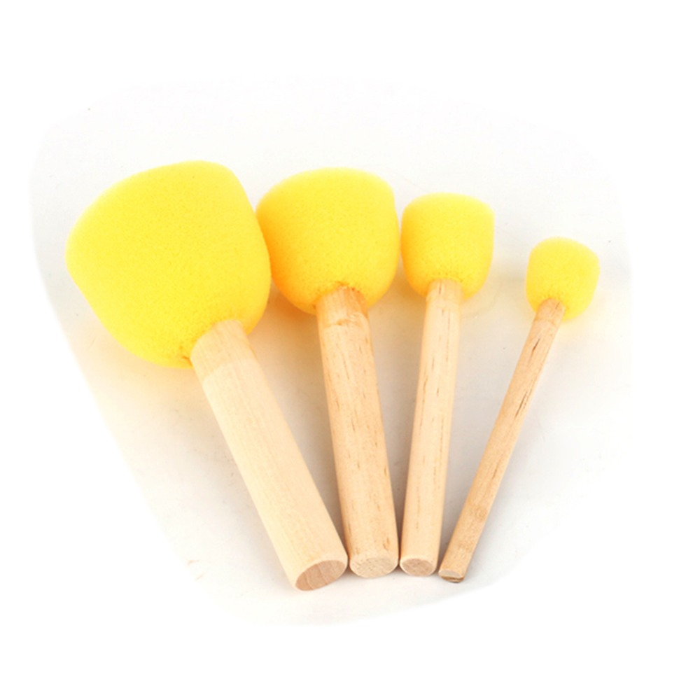 4pcs/Set Round Stencil Sponge Wooden Handle Foam Brush Furniture Art Crafts Painting Tool Wooden Handle Yellow Paint Brush