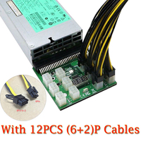 New Arrival 12pcs 6P Male To 6 2 8P Male Power Cables 1200w 750w Breakout Board