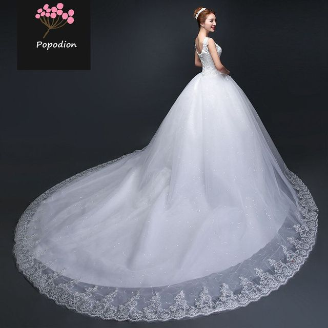 US $129.6 46% OFF|Popodion 120 cm train wedding dress lace plus size simple  wedding gowns for bride bride dress vestido de noiva WED90454-in Wedding ...