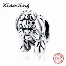 Fit Authentic Silver Pandora Bracelet 925 Original Charm Antique Beads cute dog European diy style Jewelry Gift