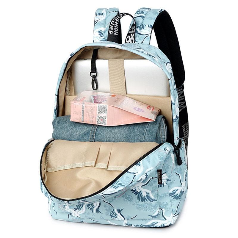 Coofit Fresh Backpack Elegant Crane Pattern Travel Bag Schoolbag For Student Girls Fashion Wild Polyester Backpack Women Bagpack