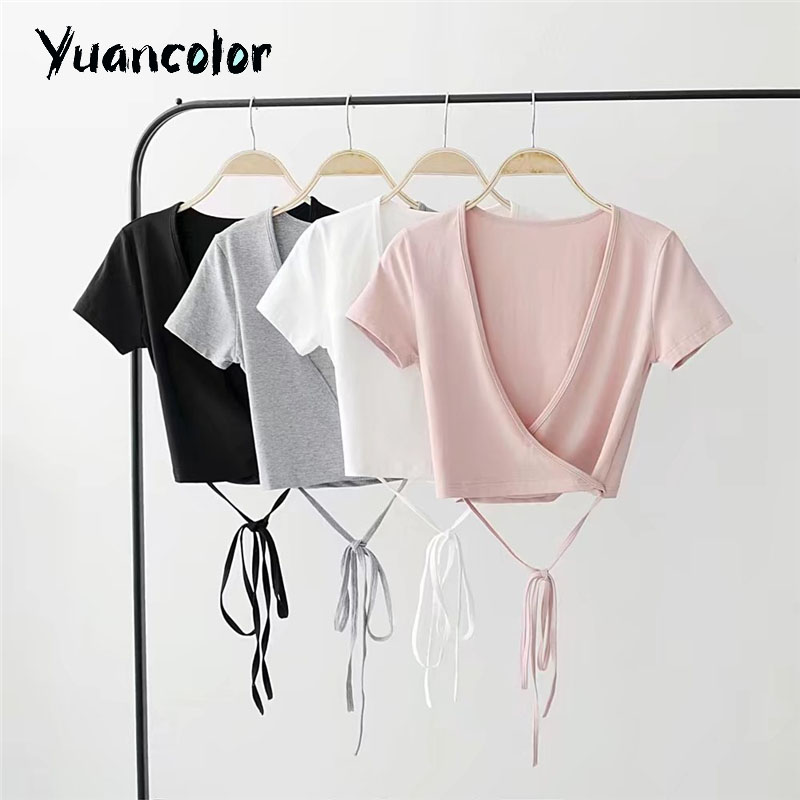 Summer Sexy V-neck knitted top tees Women black short sleeve bustier crop top Party white tops tank slim female camisole trumpet sleeve knot hem crop top