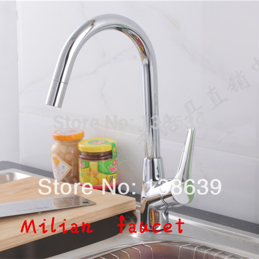 Free shipping classic kitchen cozinha Chromed single lever single hole swivel hot and cold kitchen faucet