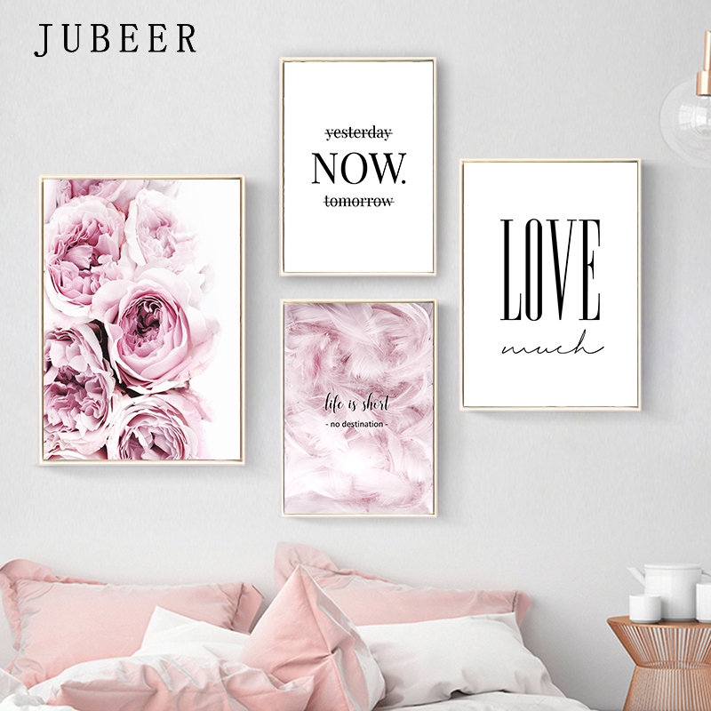 HTB1QWjTRmzqK1RjSZPcq6zTepXa3 Nordic Style Posters and Prints Flowers Wall Pictures for Living Room Feather Decorative Picture Canvas Prints Home Decor