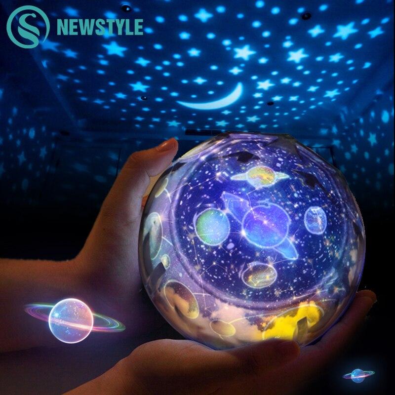 Yıldızlı gökyüzü gece lambası gezegen sihirli projektör toprak evren LED lamba renkli döndür yanıp sönen yıldız çocuklar bebek noel hediyesi