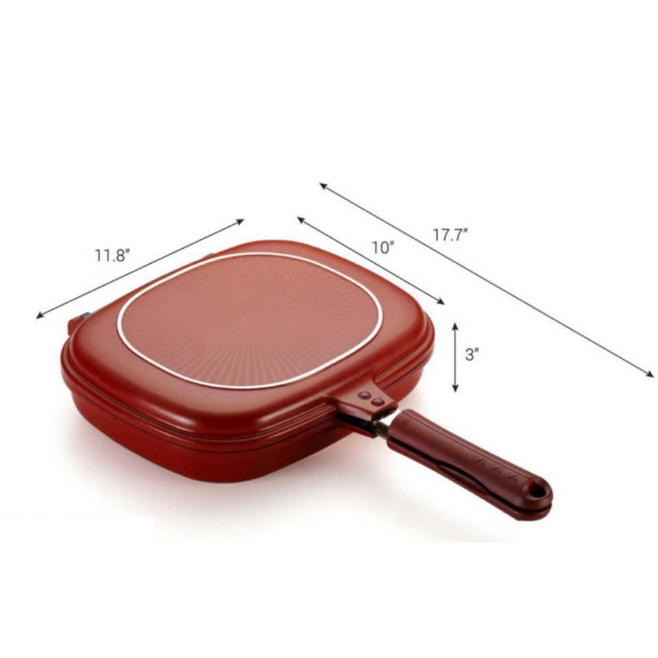 Transhome Non-Stick คู่ด้านข้างกระทะ 28 ซม.พับพลิก Griddle สเต็กเครื่องครัวแพนเค้กเครื่องมือทำอาหารสำหรับห้องครัว