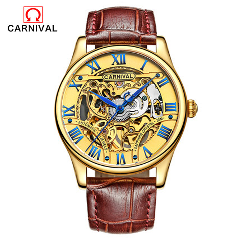 Carnival Men's Watch Casual Fashion Hollow Automatic Mechanical Watch Waterproof Leather Strap Business Men's Watch