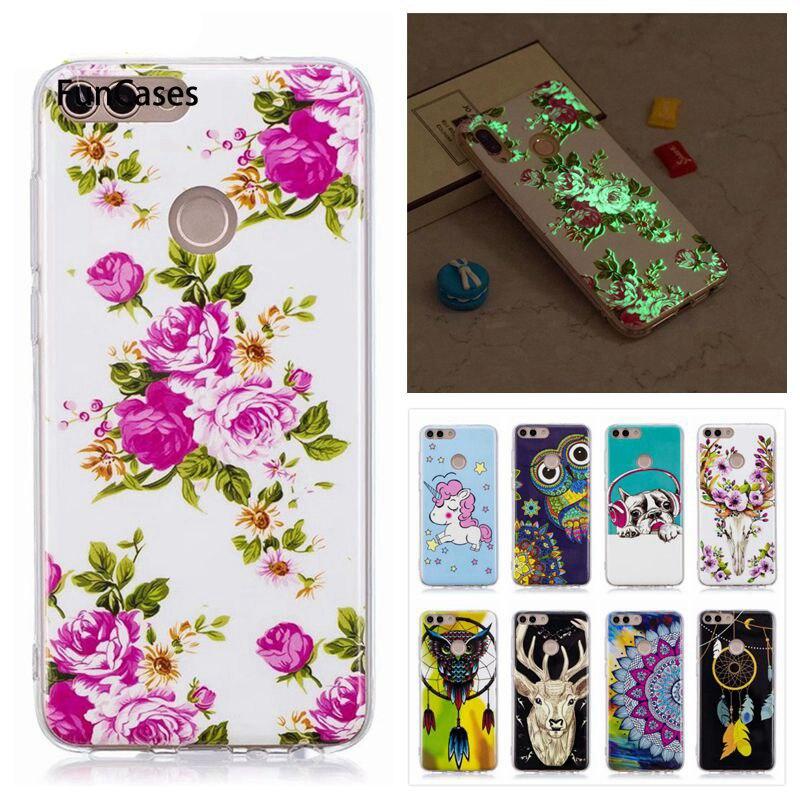 Luminous Case sFor Coque Huawei Enjoy 7S Case Flower Unicorn Cartoon Fundas For Huawei P Smart Soft Silicone Cover Cases(China)