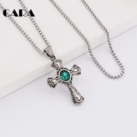 CARA New Arrival Good Quality Stainless Steel Vintage Gemstone Cross Pendant Necklace Mens Gothic Jewelry Necklace
